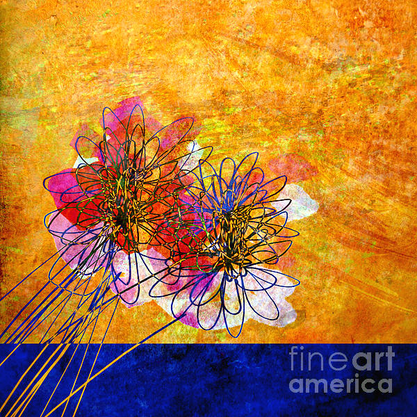 Ann Powell - Abstract Flowers Orange and Blue
