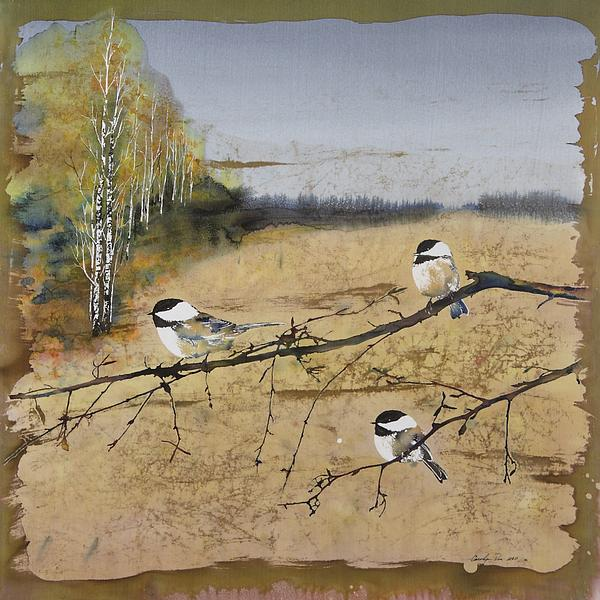 Carolyn Doe - Chickadees and a row of Birch Trees
