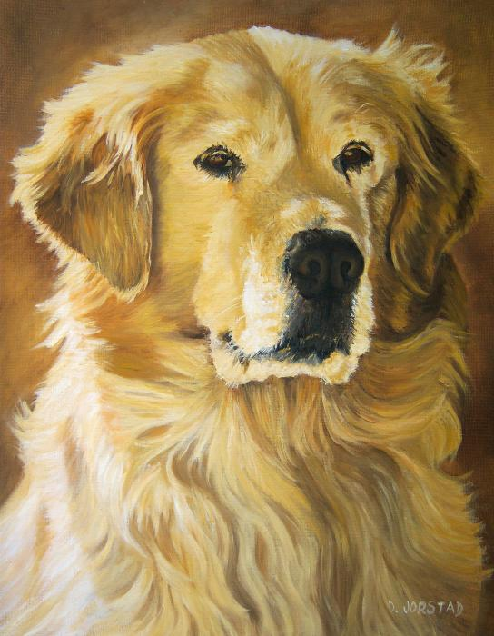 Diane Jorstad - dog pet portrait painting art for sale Golden Retriever