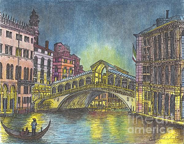 Carol Wisniewski - The Rialto Bridge An Evening in Venice
