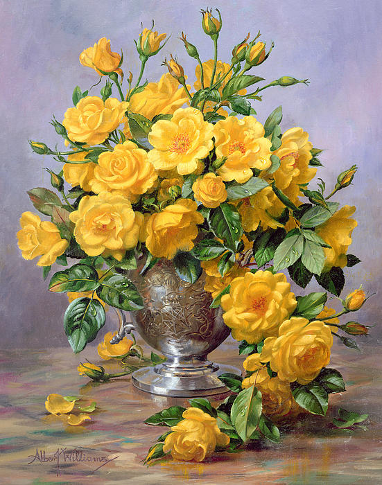 Albert Williams  - Bright Smile - Roses in a Silver Vase