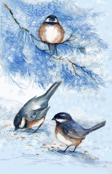 Peggy Wilson - Chickadees in Snow
