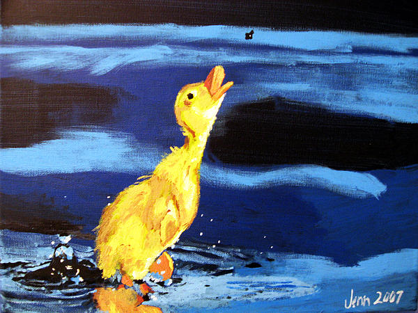 Jennifer Hickman - Duck Chasing a Bug