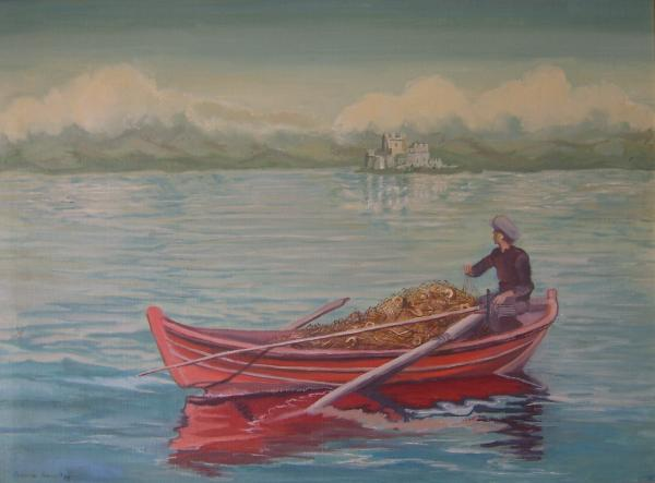 Aspasia Arvanitis - Fisherman scene in Nafplion bay Greece