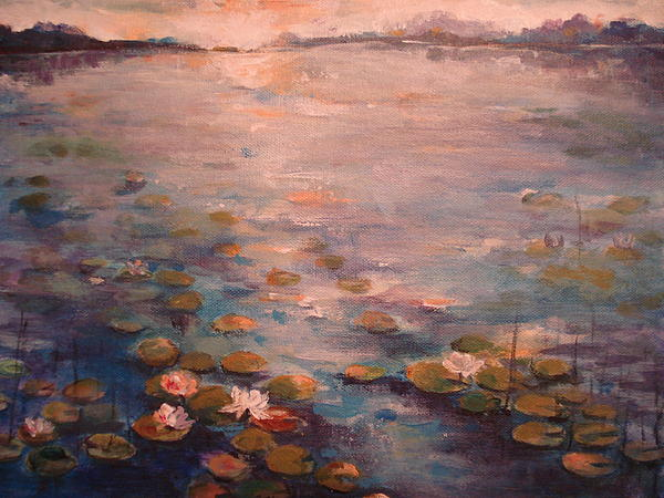 Natalia Bardi - Sunset on the lake with water lilies
