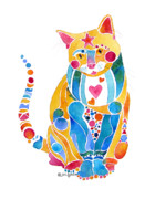 Jo Lynch - Jewel Colors Cat with...