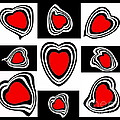 Drinka Mercep - Abstract Hearts Black...