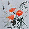 Beverley Harper Tinsley - California Poppies Sumi-e