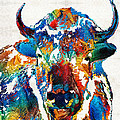Sharon Cummings - Colorful Buffalo Art -...