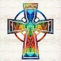 Sharon Cummings - Colorful Celtic Cross by...