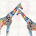 Sharon Cummings - Colorful Giraffe Art -...