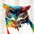 Sharon Cummings - Colorful Owl Art - Wise...