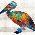 Sharon Cummings - Colorful Pelican Art By...