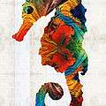 Sharon Cummings - Colorful Seahorse Art by...