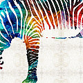 Sharon Cummings - Colorful Zebra Art by...