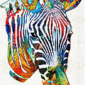 Sharon Cummings - Colorful Zebra Face by...