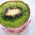 Louise Kumpf - Kiwi Fruit on a Pink and...