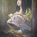 Persian Art - Little girl with green...