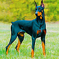 Nadine and Bob Johnston - Painting Doberman Pincher