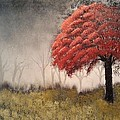 Lee Bowman - Red Bud Tree on a Misty...