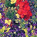 Lyn Voytershark - Red Geranium with Yellow...