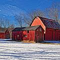Dave Sandt - Three red barns in the...
