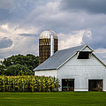 Ron Pate - White Barn and Silo with...