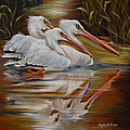 Phyllis Beiser - White Pelicans In The...