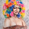 Yoshiko Mishina - Woman in the Flower Hat
