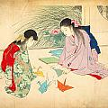 Terazaki - Young Girls Making Paper...