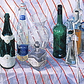 Robert Bowden - Bottles on striped cloth