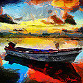 Vincent DiNovici - Painting with boat at...