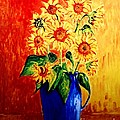 Caroline Street - Sunflowers in Blue Vase