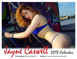 Release of 2013 Redhead Actress and Model Jayne Caswell for Treats and Threads Wall Calendar
