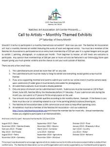 Call to Artists - Themed Monthly Exhibit - Natchez Mississippi