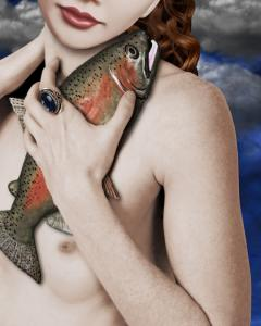 NEW ART By KEITH DILLON  GIRL WITH FISH